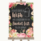 Chalkboard Style Pink Roses Bucket List Customised Wedding Sign