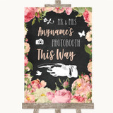 Chalkboard Style Pink Roses Photobooth This Way Left Customised Wedding Sign