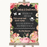 Chalkboard Style Pink Roses Pick A Prop Photobooth Customised Wedding Sign