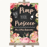Chalkboard Style Pink Roses Pimp Your Prosecco Customised Wedding Sign