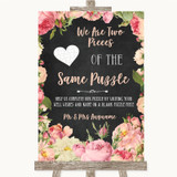 Chalkboard Style Pink Roses Puzzle Piece Guest Book Customised Wedding Sign