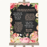 Chalkboard Style Pink Roses Romantic Vows Customised Wedding Sign