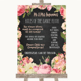 Chalkboard Style Pink Roses Rules Of The Dance Floor Customised Wedding Sign