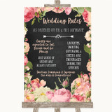 Chalkboard Style Pink Roses Rules Of The Wedding Customised Wedding Sign