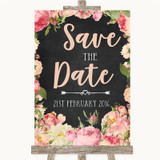 Chalkboard Style Pink Roses Save The Date Customised Wedding Sign
