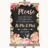 Chalkboard Style Pink Roses Share Your Wishes Customised Wedding Sign