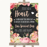 Chalkboard Style Pink Roses Sign a Heart Customised Wedding Sign
