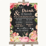 Chalkboard Style Pink Roses Signature Favourite Drinks Customised Wedding Sign