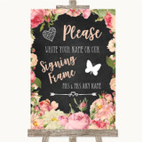 Chalkboard Style Pink Roses Signing Frame Guestbook Customised Wedding Sign