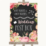 Chalkboard Style Pink Roses Card Post Box Customised Wedding Sign