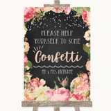 Chalkboard Style Pink Roses Take Some Confetti Customised Wedding Sign