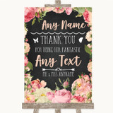 Chalkboard Style Pink Roses Thank You Bridesmaid Page Boy Best Man Wedding Sign