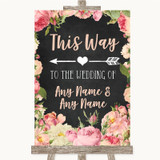 Chalkboard Style Pink Roses This Way Arrow Left Customised Wedding Sign