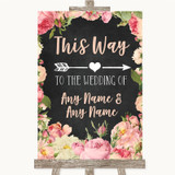 Chalkboard Style Pink Roses This Way Arrow Right Customised Wedding Sign