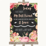 Chalkboard Style Pink Roses Today I Marry My Best Friend Wedding Sign