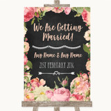 Chalkboard Style Pink Roses We Are Getting Married Customised Wedding Sign