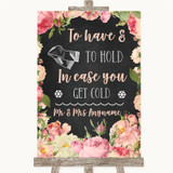 Chalkboard Style Pink Roses Wedding Blanket Scarf Customised Wedding Sign