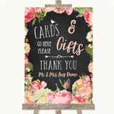 Chalkboard Style Pink Roses Cards & Gifts Table Customised Wedding Sign