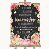 Chalkboard Style Pink Roses Wedpics App Photos Customised Wedding Sign