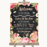 Chalkboard Style Pink Roses Welcome Order Of The Day Customised Wedding Sign
