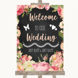 Chalkboard Style Pink Roses Welcome To Our Wedding Customised Wedding Sign