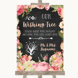 Chalkboard Style Pink Roses Wishing Tree Customised Wedding Sign