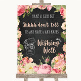 Chalkboard Style Pink Roses Wishing Well Message Customised Wedding Sign