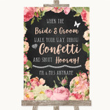 Chalkboard Style Pink Roses Confetti Customised Wedding Sign