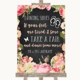 Chalkboard Style Pink Roses Dancing Shoes Flip Flops Customised Wedding Sign
