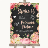 Chalkboard Style Pink Roses Polaroid Picture Customised Wedding Sign