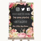 Chalkboard Style Pink Roses Social Media Hashtag Photos Wedding Sign