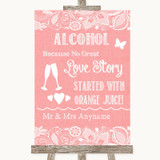 Coral Burlap & Lace Alcohol Bar Love Story Customised Wedding Sign