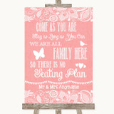 Coral Burlap & Lace All Family No Seating Plan Customised Wedding Sign