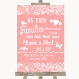 Coral Burlap & Lace As Families Become One Seating Plan Wedding Sign