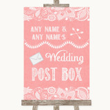 Coral Burlap & Lace Card Post Box Customised Wedding Sign