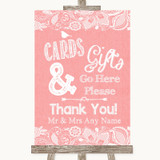 Coral Burlap & Lace Cards & Gifts Table Customised Wedding Sign