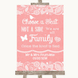 Coral Burlap & Lace Choose A Seat We Are All Family Customised Wedding Sign