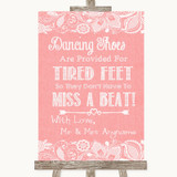 Coral Burlap & Lace Dancing Shoes Flip-Flop Tired Feet Customised Wedding Sign