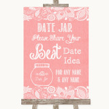 Coral Burlap & Lace Date Jar Guestbook Customised Wedding Sign
