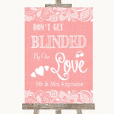 Coral Burlap & Lace Don't Be Blinded Sunglasses Customised Wedding Sign