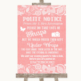 Coral Burlap & Lace Don't Post Photos Facebook Customised Wedding Sign
