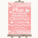 Coral Burlap & Lace Don't Post Photos Online Social Media Wedding Sign