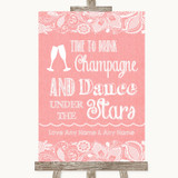 Coral Burlap & Lace Drink Champagne Dance Stars Customised Wedding Sign