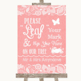 Coral Burlap & Lace Fingerprint Tree Instructions Customised Wedding Sign