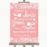 Coral Burlap & Lace Friends Of The Bride Groom Seating Customised Wedding Sign