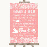 Coral Burlap & Lace Grab A Bag Candy Buffet Cart Sweets Wedding Sign