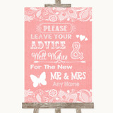 Coral Burlap & Lace Guestbook Advice & Wishes Mr & Mrs Customised Wedding Sign