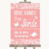 Coral Burlap & Lace Here Comes Bride Aisle Sign Customised Wedding Sign