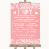 Coral Burlap & Lace I Spy Disposable Camera Customised Wedding Sign
