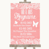 Coral Burlap & Lace Important Special Dates Customised Wedding Sign
